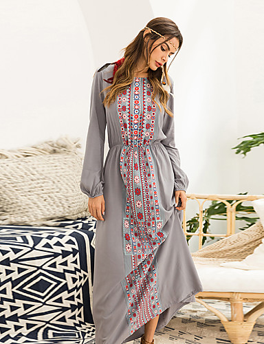 voordelige Maxi-jurken-Dames Boho Wijd uitlopend Jurk - Effen Geometrisch, Geplooid Patchwork Midi Zwart Blauw