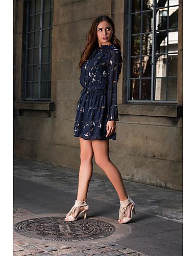 Kadın's Temel Zarif Kılıf Çan Elbise - Zıt Renkli, Fırfırlı Dantelli Kırk Yama Maksi Mavi