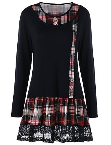 billige Dametopper-T-skjorte Dame - Ensfarget / Ruter, Blonde / Lapper Grunnleggende Svart