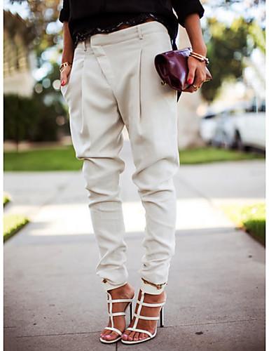 abordables Pantalons et Jupes Femme-Femme Chic de Rue Jogger Pantalon - Couleur Pleine Noir Blanche Bleu S M L / Grandes Tailles