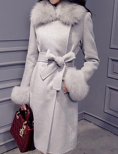 billige Ytterklær til damer-Dame Daglig Høst vinter Normal Frakk, Ensfarget Aftæpning Langermet Polyester Rosa / Grå / Gul
