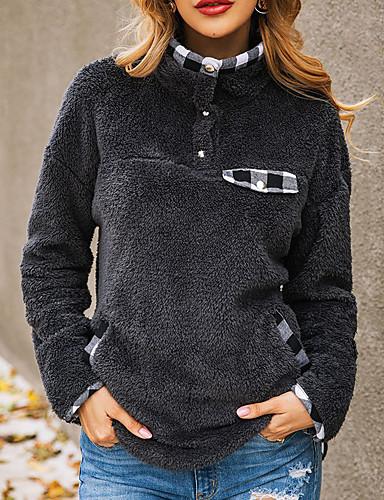 abordables Hauts pour Femmes-Femme Simple / Basique Sweatshirt Couleur Pleine