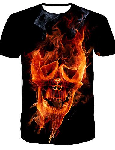 voordelige Uitverkoop-Heren Street chic / Punk & Gothic Print T-shirt Kleurenblok / Doodskoppen Zwart