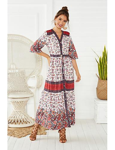voordelige Maxi-jurken-Dames Boho Street chic Wijd uitlopend Jurk - Bloemen Kleurenblok Sneeuwvlok, Veters Print Midi Zwart & Rood Kersen Rood