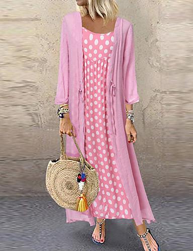 voordelige Maxi-jurken-Dames Tweedelig Jurk - Polka dot Midi
