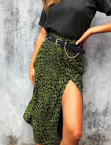 abordables Jupes-Femme Chic de Rue Crochet Jupes - Géométrique Léopard Imprimé M L XL