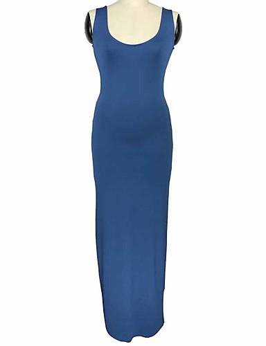abordables Robes Femme-Femme Chic de Rue Elégant Maxi Moulante Gaine Robe Couleur Pleine Noir Vin Bleu clair S M L Sans Manches