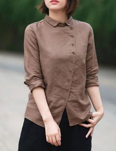 Kadın's Gömlek Solid Açık Kahverengi