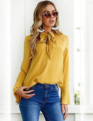 billige Dametopper-Skjorte Dame - Ensfarget, Flettet Elegant Blå Svart