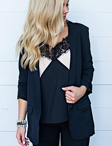 billige Blazere og jakker til damer-Dame Store størrelser Blazer, Ensfarget Rundet jakkeslag Polyester Svart / Gul / Fuksia