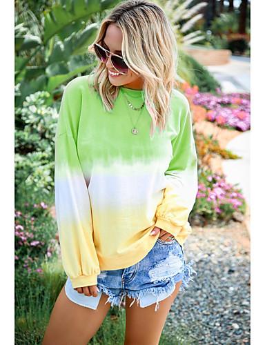 billige Dametopper-T-skjorte Dame - Regnbue, Trykt mønster Svart