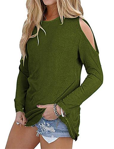 billige Dametopper-T-skjorte Dame - Ensfarget, Lapper Gatemote Svart / Blå Svart