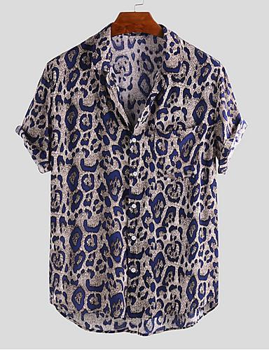 voordelige Herenoverhemden-Heren Standaard Print Overhemd Luipaard Zwart