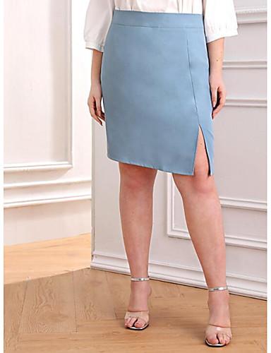 abordables Jupes-Femme Grandes Tailles Actif Basique Mini Trapèze / Moulante Jupes - Couleur Pleine Fendu Bleu clair XL XXL XXL / Mince