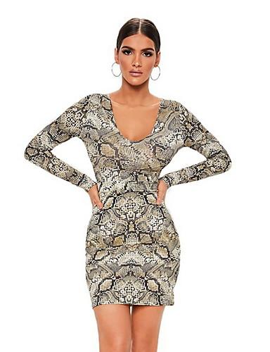 billige Kjoler-Dame Grunnleggende Skjede Kjole - Leopard, Trykt mønster Ovenfor knéet