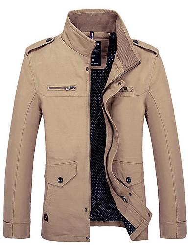 hesapli Erkek Ceketleri ve Kabanları-Erkek Günlük Normal Ceketler, Solid Dik Yaka Uzun Kollu Polyester Siyah / Yonca / Haki