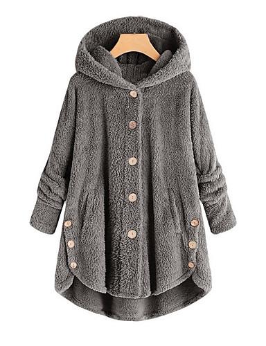 preiswerte Damen Überbekleidung-Damen Alltag Herbst Winter Standard Mantel, Solide Mit Kapuze Langarm Polyester Wein / Leicht Braun / Hellgrau