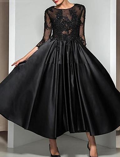 hesapli Gece Elbiseleri-A-Şekilli Taşlı Yaka Bilek Boyu Dantelalar / Saten Aplik ile Resmi Akşam Elbise tarafından LAN TING Express / Güzel Sırt
