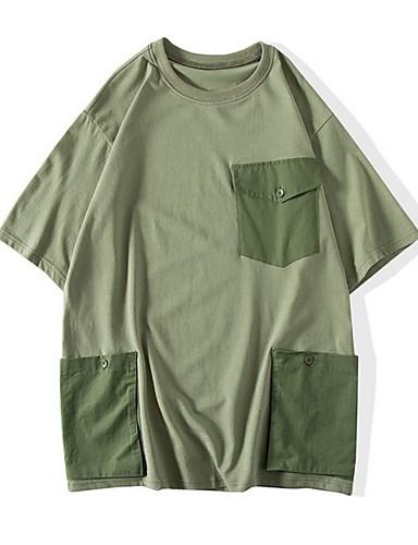 voordelige Heren T-shirts & tanktops-Heren Standaard T-shirt Kleurenblok Zwart