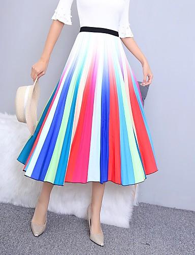 abordables Jupes-Femme Basique Trapèze Jupes - Bloc de Couleur Imprimé Arc-en-ciel Taille unique