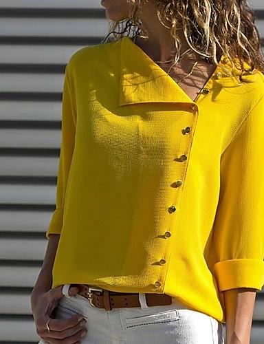 billige Topper til damer-Skjorte Dame - Ensfarget Elegant Hvit
