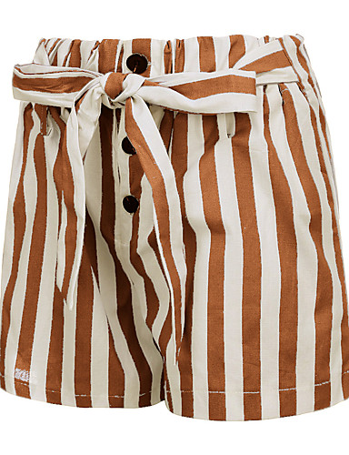 hesapli Kadın Pantolonl-Kadın's Temel Salaş Şortlar Pantolon - Çizgili Yüksek Bel Keten Kahverengi Yonca Gri M L XL