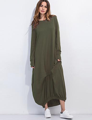 billige Kjoler-Dame Grunnleggende T skjorte Kjole - Ensfarget, Lapper Maksi