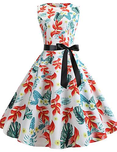abordables Robes Femme-Femme Rétro Vintage Mi-long Trapèze Robe - Imprimé, Fleur Animal Papillon Blanche Rose Claire Vert S M L Sans Manches