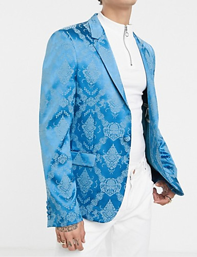billige Herreovertøj-Herre Blazer, Ensfarvet Hakrevers Polyester Blå US36 / UK36 / EU44 / US38 / UK38 / EU46 / US40 / UK40 / EU48