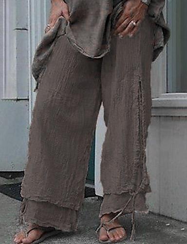 abordables Pantalons Femme-Femme Basique Ample Pantalon - Couleur Pleine Noir Bleu Marron S M L