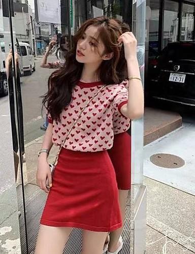 abordables Hauts pour Femmes-Femme Géométrique Manches courtes Cardigan, Col Arrondi Rouge / Beige Taille unique
