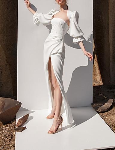 abordables Robes de Mariée 2019-Fourreau / Colonne Sans Bretelles Longueur Sol Satin Robes de mariée sur mesure avec Avant Fendu par LAN TING Express / Oui