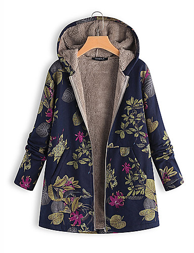 cheap Autumn New Outfits-Women's Floral Regular Padded, Wool Blend White / Orange / Blue S / M / L