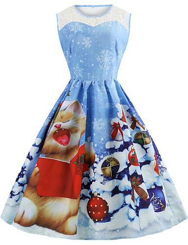 abordables Robes Femme-Femme Rétro Vintage Mi-long Trapèze Robe - Maille Mosaïque Imprimé, Motif de flocon de neige Bleu S M L Sans Manches