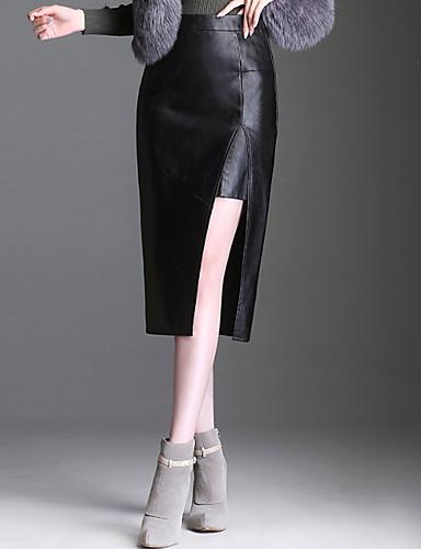 abordables Jupes-Femme Grandes Tailles Sexy Polyuréthane Moulante Jupes - Couleur Pleine Fendu Noir M L XL
