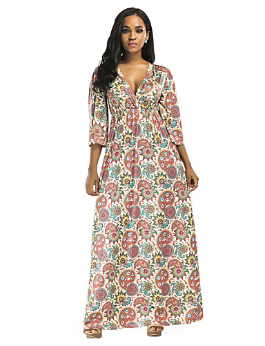 abordables Robes Femme-Femme Elégant Maxi Gaine Robe - A Volants Imprimé, Fleur Géométrique Jaune Vert Vert Claire L XL XXL Demi Manches