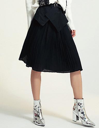 abordables Jupes-Femme Chic & Moderne Trapèze Jupes - Couleur Pleine Mosaïque Plissé Noir Vert Véronèse Taille unique