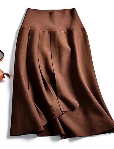 abordables Jupes-Femme Basique Trapèze Jupes - Couleur Pleine Noir Vin Chameau M L