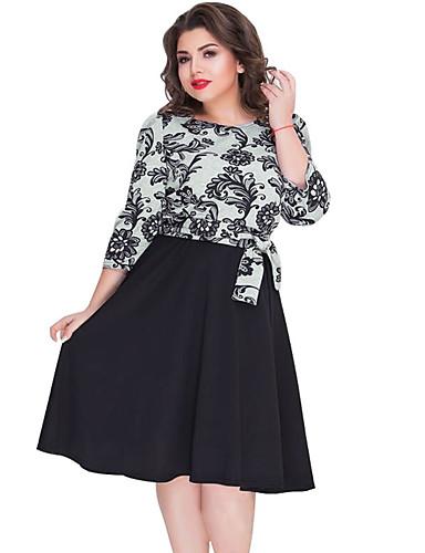 voordelige Grote maten jurken-Dames Vintage Elegant Schede Skater Jurk - Polka dot Bloemen, Patchwork Print Tot de knie