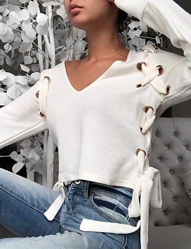 billige Topper til damer-V-hals Bluse Dame - Ensfarget Grunnleggende Hvit