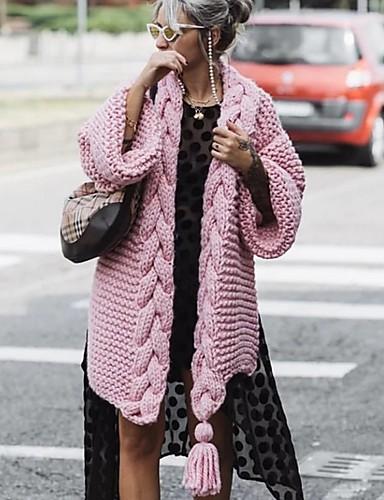 abordables Hauts pour Femmes-Femme Couleur Pleine Manches Longues Cardigan, Col en V Rose Claire / Bleu Roi / Beige Taille unique