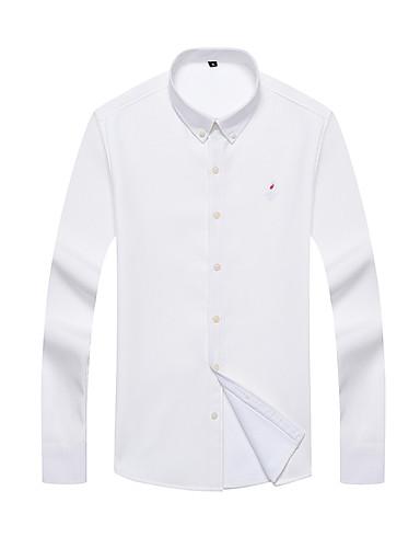 voordelige Herenoverhemden-Heren Standaard Overhemd Effen Wit