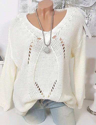 povoljno Ženski džemperi-Žene Jednobojni Dugih rukava Pullover, V izrez Obala / Blushing Pink / Sive boje S / M / L