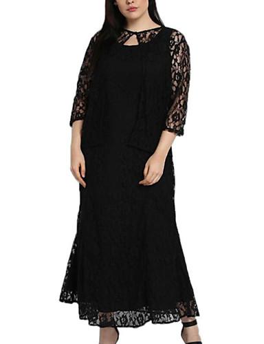 voordelige Grote maten jurken-Dames Street chic Verfijnd Recht Wijd uitlopend Jurk - Effen Maxi