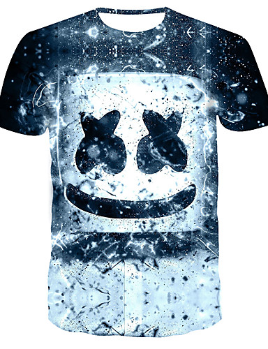 voordelige Uitverkoop-Heren Street chic / Punk & Gothic Print T-shirt Kleurenblok / Fruit blauw