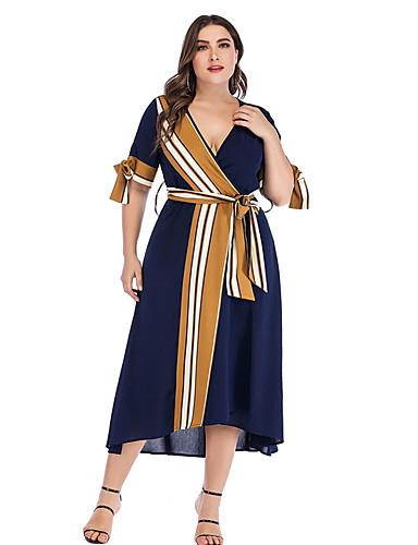 Kadın's A Şekilli Elbise - Çizgili Midi