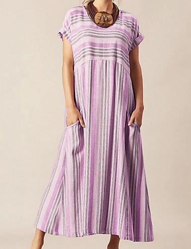 billige Kjoler-Dame Elegant A-linje Kjole - Stripet Maksi
