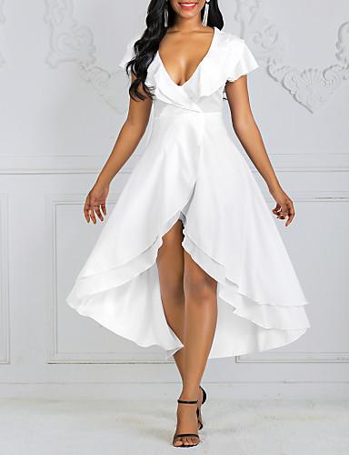 voordelige Maxi-jurken-Dames Sexy A-lijn Jurk - Effen V-hals Midi
