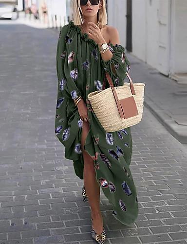 voordelige Maxi-jurken-Dames Wijd uitlopend Jurk - Regenboog Midi