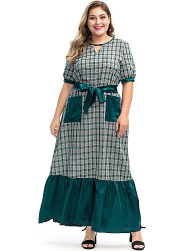 voordelige Grote maten jurken-Dames Abaya Jurk - Pied-de-poule, Ruche Veters Patchwork Maxi